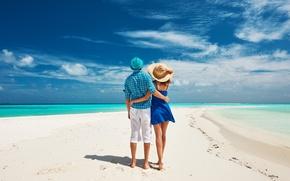 Картинка beach, sky, sea, ocean, nature, clouds, sand, maldives, paradise, romance, exotic, tropical, splendor