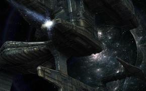 Картинка космос, звезды, полет, корабль, спираль, галактика, космический
