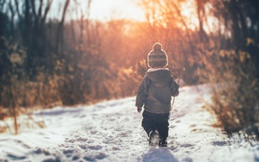 Картинка зима, мальчик, снег, свет