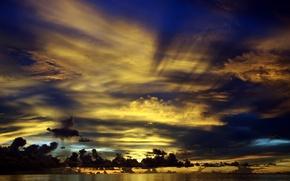 Картинка вода, облака, закат, тучи, океан, горизонт, Мальдивы, сумерки, красивый, солнечные лучи, Северная Центральная провинция