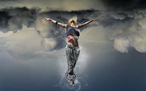 Картинка девушка, Небо, эйфория