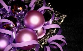 Картинка шарики, игрушки, новый год, рождество, серпантин