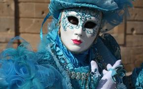 Обои шляпа, голубой, Венеция, маска, карнавал, костюм