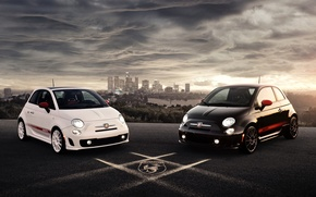 Картинка белый, черный, автомобиль, 2012, Abarth