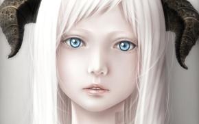 Картинка девушка, крупный план, штрих-код, арт, рога, белые волосы, bouno satoshi