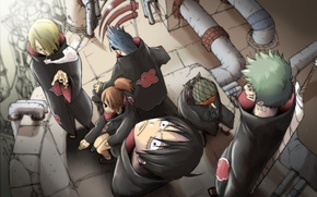 Картинка аниме, арт, naruto, one piece, акацуки, кроссовер, мугивары