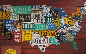 Картинка USA, road, map, states, plates, car plates