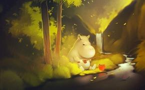 Картинка лес, река, дерево, берег, рыбалка, сказка, удочка, тролль, Moomintroll