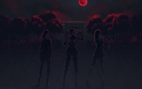 Картинка art, колючая проволока, кровавая луна, Maki Kurihara, Meiko Shiraki, Школа-тюрьма, Hana Midorikawa, Akira Hiremoto, надзиратели, …