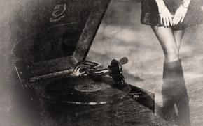 Картинка ретро, граммофон, винтаж, old records