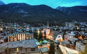 Обои пейзаж, горы, здания, дома, панорама, швейцария, церматт, zermatt, костёл, switzerland