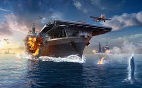 Обои Дым, World of Warships, Мир Кораблей, WoWS, Небо, Авианосец, Корабли, Самолеты, Вода, Пламя, Wargaming Net, ...