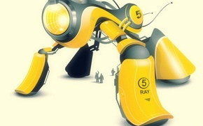 Обои вектор, робот, желтый