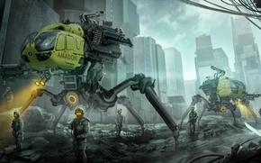 Картинка город, фантастика, арт, разрушение, солдаты
