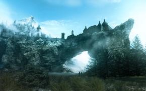 Обои город, скала, игра, года, Skyrim, Скайрим, TES, солитьюд