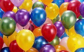 Обои цветные, воздушные шарики, блёстки