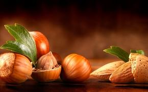 Картинка стол, листочки, орехи, миндаль, лесные