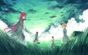Обои hatsune miku, вокалоид, арт, природа, трава, meiko, kagamine rin, небо, megurine luka, девушки, vocaloid, облака