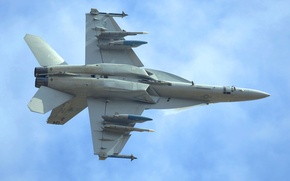 Картинка Истребитель-бомбардировщик, Небо, Boeing, F/A-18 Super Hornet, штурмовик, Американский, Палубный, Самолет