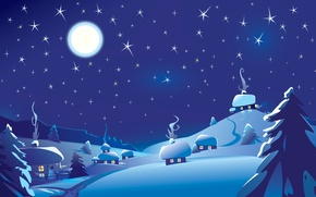 Картинка зима, небо, звезды, пейзаж, ночь, луна, снеговик, хата
