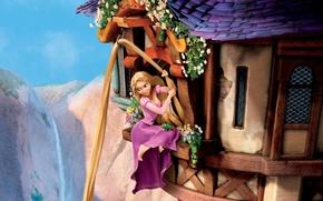 Обои небо, цветы, горы, хамелеон, замок, волосы, окна, башня, Рапунцель, принцесса, Tangled, Паскаль, златовласка, запутанная история