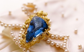 Картинка золото, камень, кольцо, украшение, сапфир