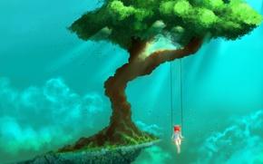 Картинка листья, облака, качели, дерево, гора, Девочка