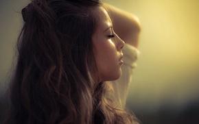 Картинка девушка, ресницы, фото, брюнетка, профиль, sensual