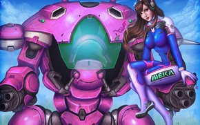 Картинка девушка, робот, арт, танк, overwatch, D.Va, Hana Song