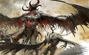 Картинка крылья, цепь, рога, Guild Wars 2, демоны, крюк