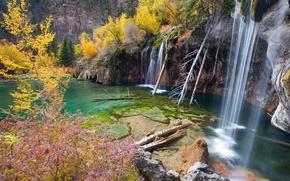Картинка деревья, озеро, скалы, водопад, Hanging Lake