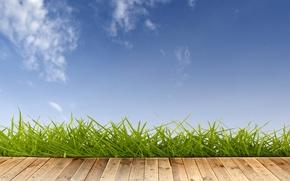 Картинка лето, небо, трава, облака, дерево, помост