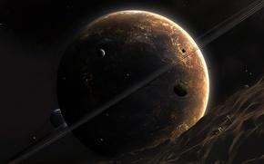 Обои планета, кольцо, астероид