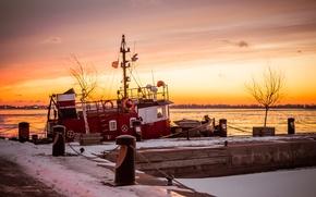 Картинка озеро, корабль, причал, Canada, Ontario, Toronto, Duncan Rawlinson, tuboat at sunrise