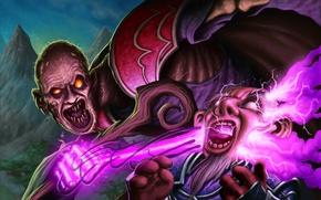 Картинка магия, карта, арт, зомби, WoW, World of Warcraft, гном, жрец, отрекшийся, Hearthstone, Mind Blast, DaveAllsop, …