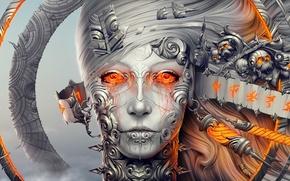 Картинка девушка, украшения, металл, лицо, череп, робот, кольца, голова, символы, арт, лента