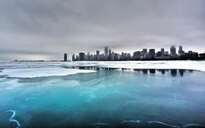 Обои зима, море, города