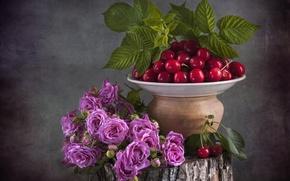 Картинка вишня, ягоды, розы