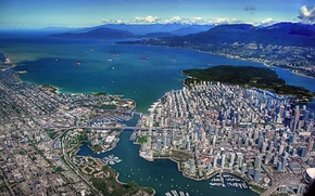 Картинка здания, сверху, залив, Ванкувер