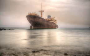 Картинка море, фон, корабль