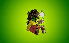 Картинка music, smoke, Bob Marley, Jamaica, marijuana, reggae, dreadlocks, caricature, ska, rocksteady