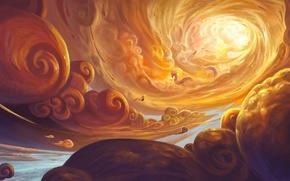 Картинка небо, солнце, облака, полет, дракон, человек, арт, feng liu, pursue