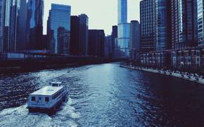 Картинка река, небоскребы, пароход, USA, чикаго, Chicago, высотки, center, illinois, иллинойс