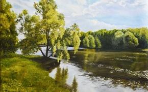 Картинка небо, облака, деревья, пейзаж, река, берег, картина, живопись, Рось, Сергей Луценко
