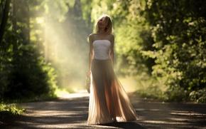 Картинка дорога, девушка, свет, настроение
