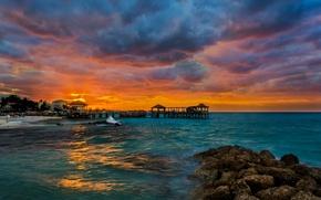 Картинка море, пляж, тропики, камни, рассвет, причал, Bahamas, Nassau