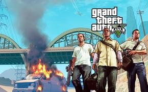 Картинка мост, бандиты, фургон, Michael, Майкл, грабители, Grand Theft Auto V, gta5, Franklin, лос сантос, Тревор, …