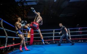 Картинка атака, удар, ринг, тайский бокс, photographer, бойцы, прием, судья, Boxing, Boxe Thai, Olivier Ahpoor