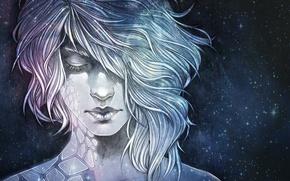 Обои девушка, космос, фантастика, арт, sci-fi