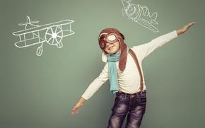 Картинка мечта, шапка, мальчик, очки, рисунки, ребёнок, самолёты, летчик